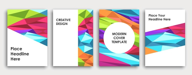 Conception de couverture de livre colorée. abstrait. affiche, rapport annuel d'entreprise, brochure, maquette de magazine. modèle a4 vert, rose, bleu, violet. vecteur polygonal.