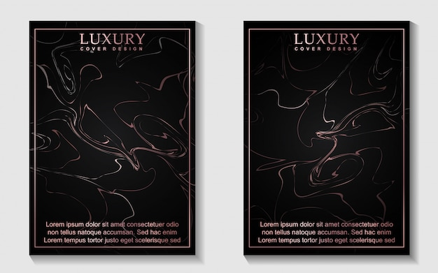 Conception de couverture de luxe en or rose et marbre noir