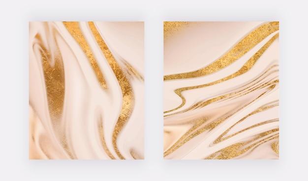 Conception de couverture de luxe avec texture de marbre liquide à paillettes d'or