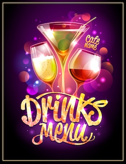 Conception de couverture de menu de boissons, cocktails et étincelles disco