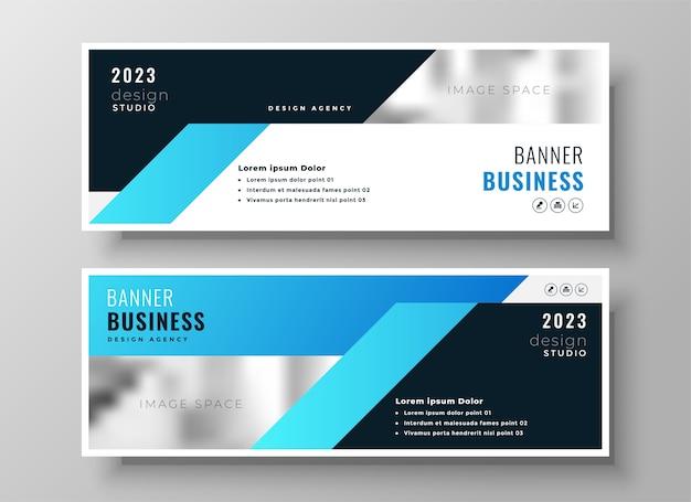 Conception de couverture ou d'en-tête facebook d'entreprise moderne de deux entreprises bleues