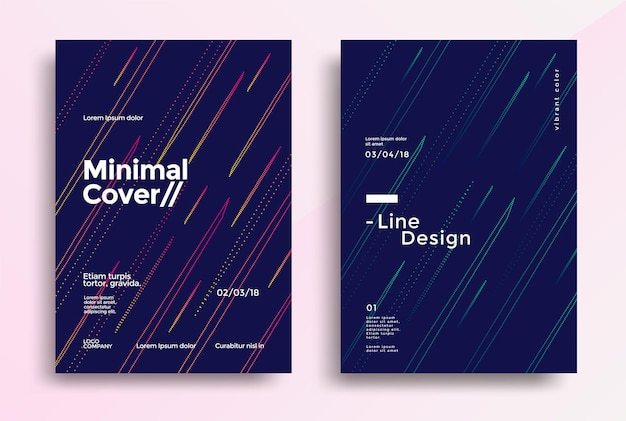 Conception de couvertures minimales avec une ligne simple de couleur. graphiques vectoriels