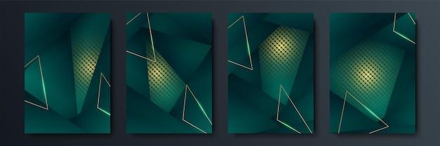 Conception de couvertures vectorielles minimalistes avec des formes de lignes d'intersection dégradées et géométriques. conception de bannière vert foncé et or. ensemble de modèles de couverture modernes