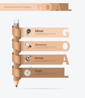 Conception de crayon créatif avec concept d'idées de buts