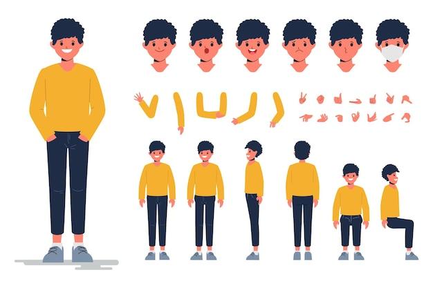 Conception de création de personnage de jeune homme pour la conception plate de dessin animé d'animation