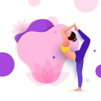 Conception créative d'affiche ou de bannière avec illustration d'une femme faisant du yoga