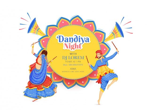 Conception créative de bannière ou d'affiche de soirée dj dandiya night