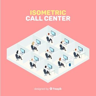 Conception créative de centre d'appels isométrique