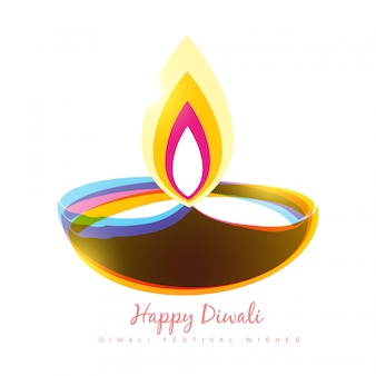 Conception créative de diya coloré pour diwali