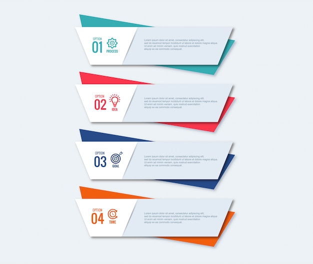 Conception créative du concept d'étapes infographiques
