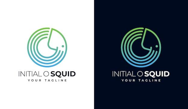 Conception créative du logo initial o calmar
