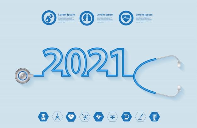 Conception créative du nouvel an 2021 avec stéthoscope