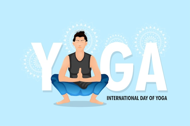 Conception créative de la journée internationale du yoga avec illustration vectorielle