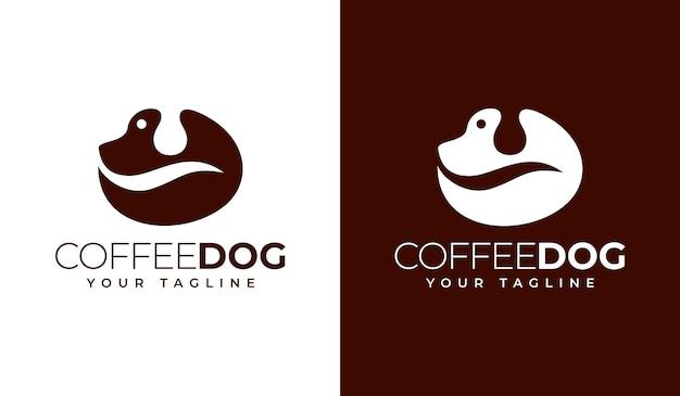 Conception créative de logo de chien de café
