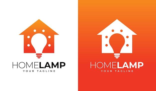Conception créative de logo de lampe à la maison