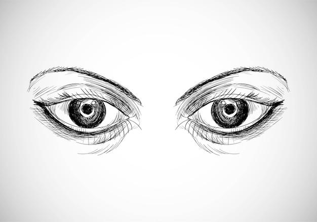 Conception de croquis de beaux yeux dessinés à la main