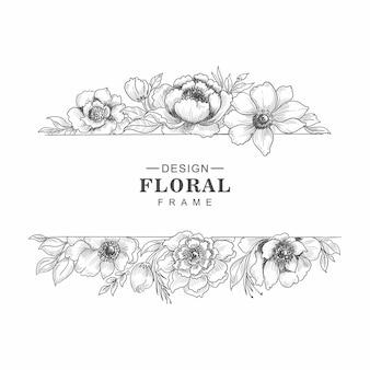 Conception de croquis de bordure de cadre floristique dessinés à la main