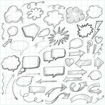 Conception de croquis de bulles de discours doodle dessin animé dessinés à la main