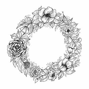 Conception de croquis de cadre floral circulaire beau mariage