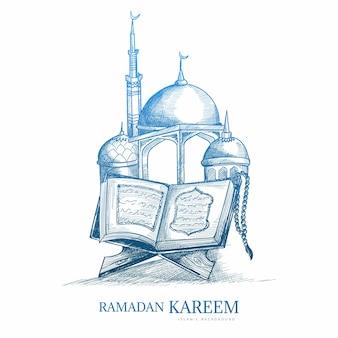 Conception de croquis de carte de voeux ramadan kareem dessinés à la main
