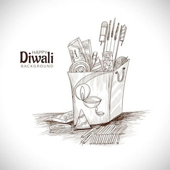 Conception de croquis de craquelins diwali dessinés à la main