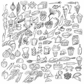 Conception de croquis d'éléments alimentaires dessinés à la main