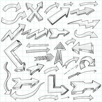 Conception de croquis de jeu de flèches directionnelles dessinées à la main