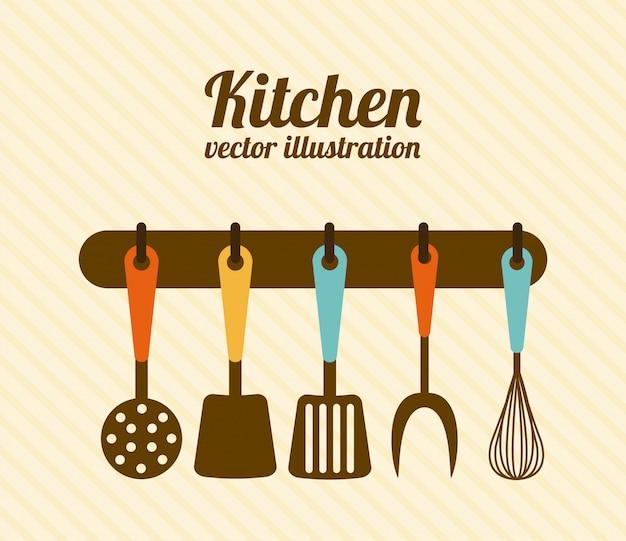 Conception de la cuisine au cours de l'illustration vectorielle sur fond beige
