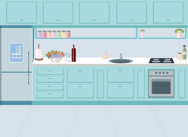 Conception de cuisine turquoise élégante avec plaque de cuisson et évier intégrés. dessin vectoriel