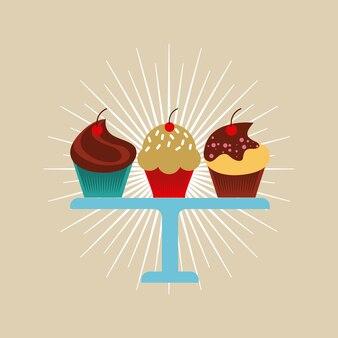 Conception de cupcakes colorés