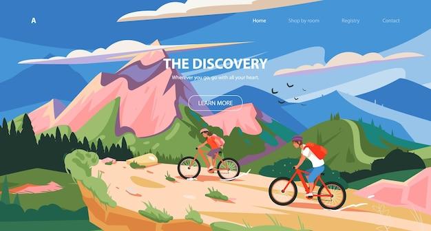 Conception de curseur de modèle de sport de cycle de site web aventure d'un jeune homme dans les montagnes à vélo