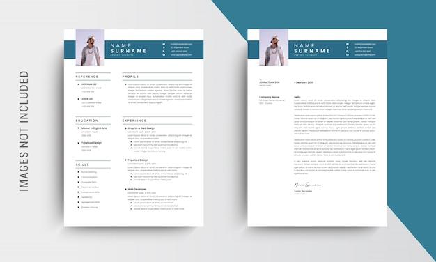Conception de cv professionnel et modèle de papier à en-tête, lettre de motivation, modèle de demande d'emploi, bleu