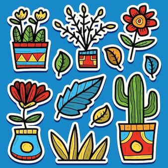 Conception dautocollant de dessin animé plante doodle dessiné à la main