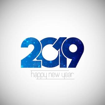 Conception de bonne année 2019 avec un fond blanc