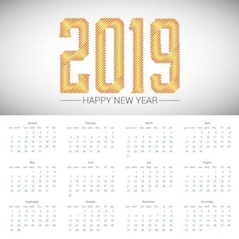 Conception de calendrier 2019 avec vecteur de fond clair