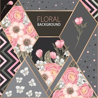 Conception de fond floral avec des éléments géométriques