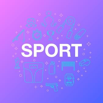 Conception de ligne plate d'icônes de sport.
