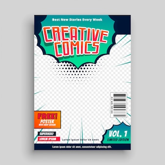 Conception de modèle de couverture de bande dessinée