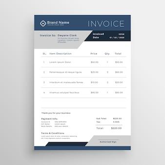 Conception de modèle de facture d'affaires vecteur bleu