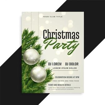 Conception de modèle de flyer couverture de fête de Noël