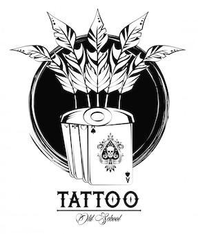Conception de tatouage avec des dessins old school