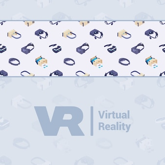 Conception de décoration faite de casques de réalité virtuelle isométrique