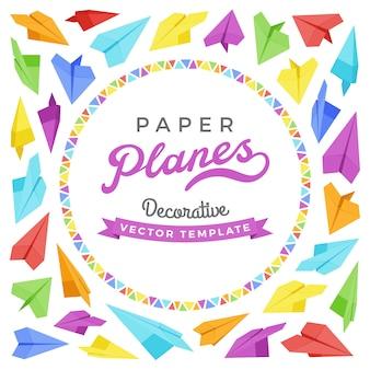 Conception de décoration de vecteur faite d'avions en papier