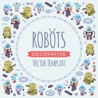 Conception de décoration de vecteur faite de robots isométriques