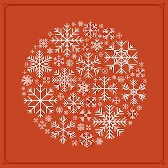 Conception de décoration de vecteur rond en flocons de neige
