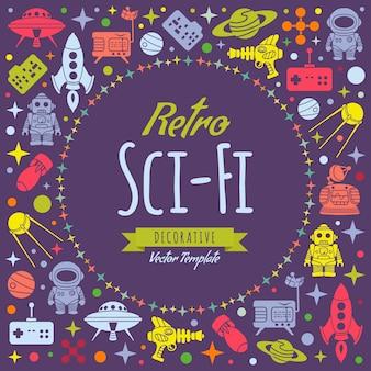 Conception de décoration de vecteur sci-fi rétro