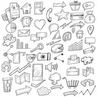 Conception de décors de bureau de travail doodle main dessiner
