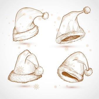 Conception de décors de croquis de chapeaux de noël dessinés à la main