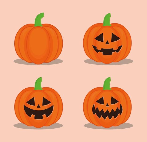 Conception de décors de dessins animés de citrouilles d'halloween, thème effrayant