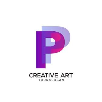 Conception de dégradé coloré logo lettre p